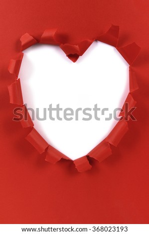 Red valentine heart shape torn paper, white background, copy space, vertical - stock photo