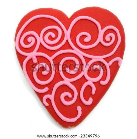 red valentine's cookie with pink swirls - stock photo