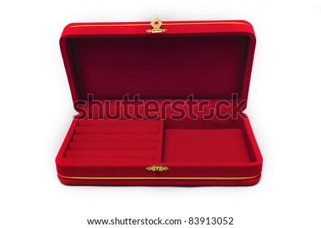 red velvet box isolated on white background - stock photo