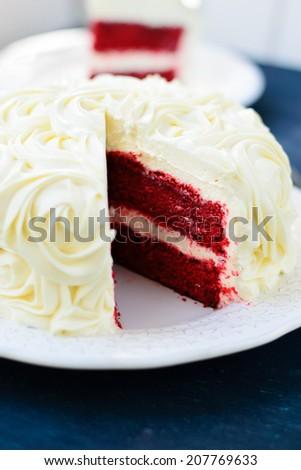 Red Velvet Cake decorated with cream - stock photo