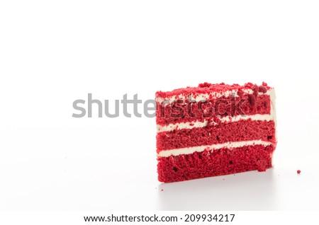 Red velvet cake isolated on white background - stock photo