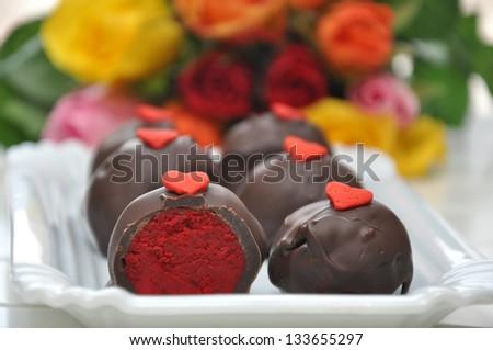 Red Velvet Cake Pops - stock photo
