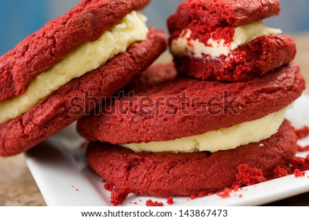 Red Velvet Cake Sandwiches with Cream Cheese Filling (Shallow Depth of Field) - stock photo