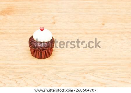 Red velvet cupcake, Red hearts for love - stock photo