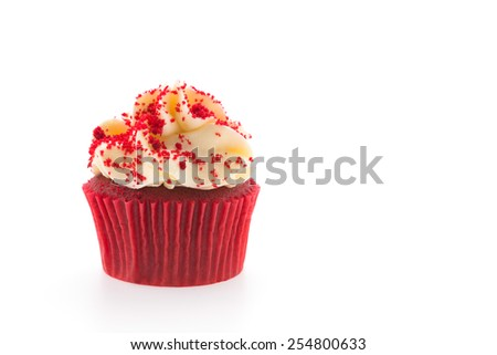 Red velvet cupcakes isolated on white - stock photo