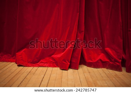 red velvet curtain - stock photo