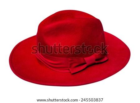 Red velvet hat isolated on white background - stock photo