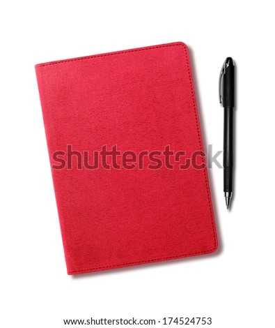 Red velvet notebook and pen isolated on white background - stock photo