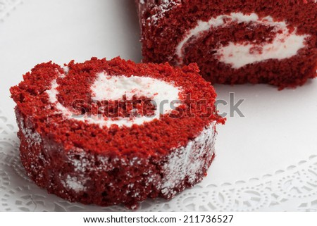 Red velvet roll cake - stock photo