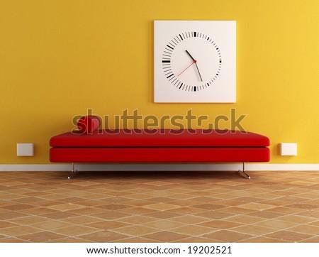 red velvet sofa and modern clock -digital artwork - stock photo