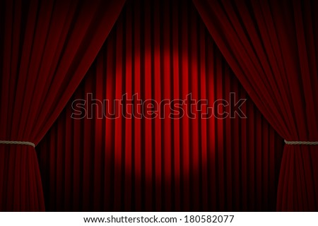 Red Velvet Stage Curtains with Center Spotlight. - stock photo