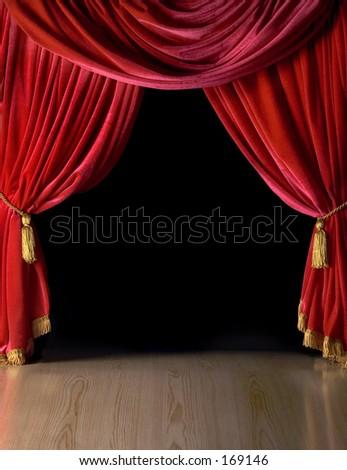Red velvet theater curtains - stock photo