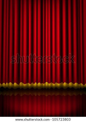 Red velvet theater stage curtain with golden border. illustration raster version, vector file included in portfolio - stock photo