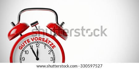 "Red viintage alarm clock with German slogan ""Gute Vorsaetze!"" (good intentions) (3D Rendering) - stock photo"