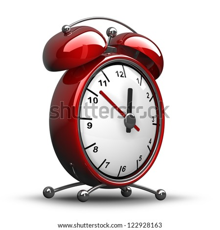 Red vintage alarm clock isolated on white background  High resolution 3d render - stock photo