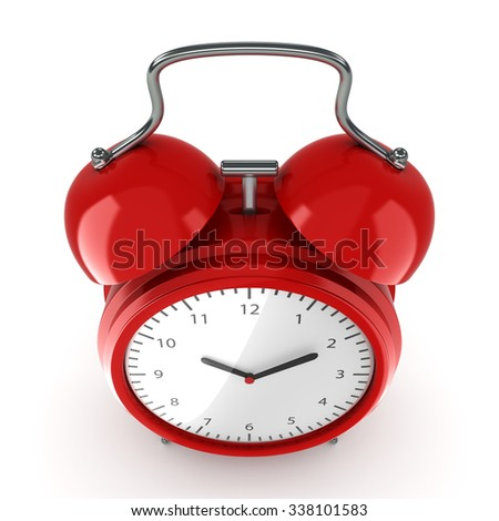 Red vintage alarm clock on a white background - stock photo
