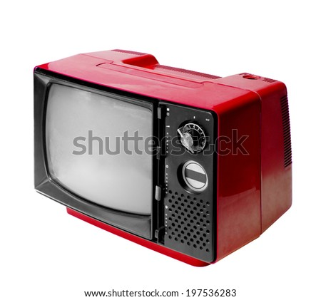 Red vintage analog television isolated over white background, clipping path. - stock photo