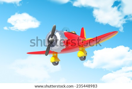 red vintage cartoon aircraft in cloudy sky - stock photo