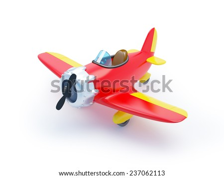 red vintage cartoon aircraft isolated on white - stock photo