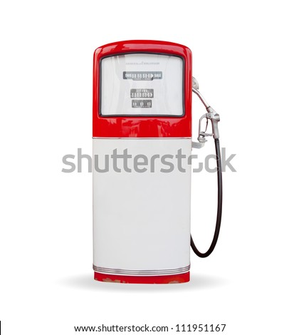 red vintage gasoline pump over white background - stock photo