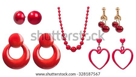Red vintage jewelry - stock photo