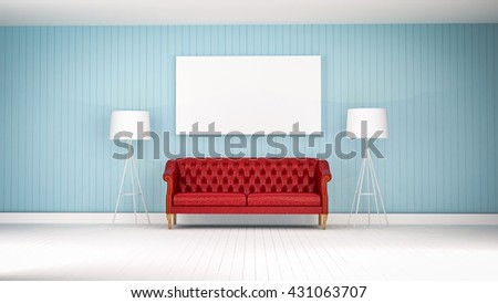 red vintage sofa on the blue wall  room 3d rendering - stock photo