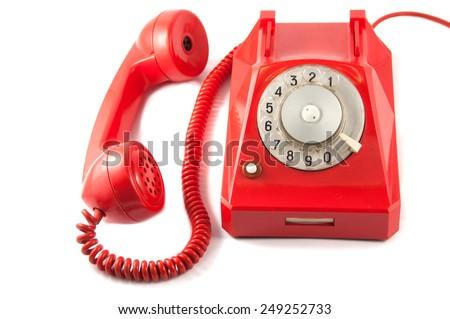 Red Vintage Telephone - stock photo