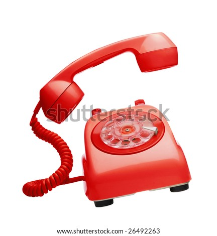 Red vintage telephone ringing - stock photo
