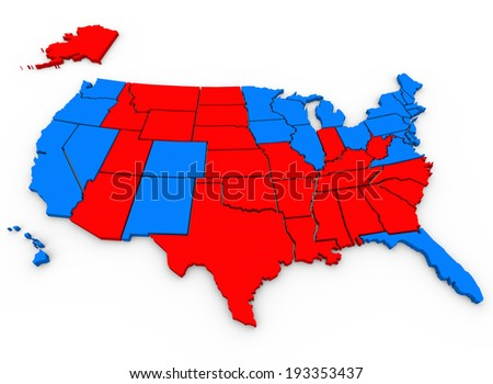 Red Vs Blue United States of America Parties Election - stock photo