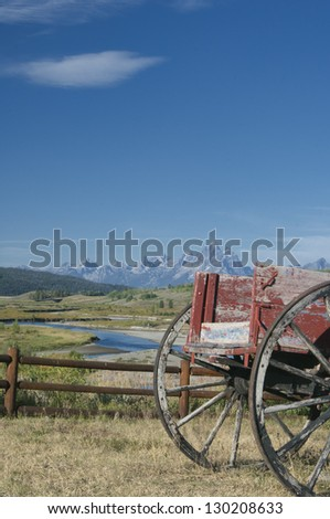 Red wagon in Wyoming - stock photo