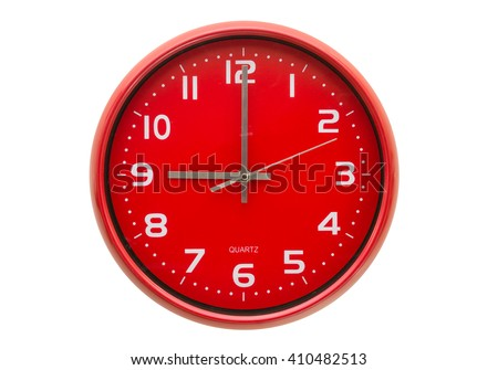 Red wall clock isolated on white background. - stock photo