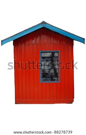 red-walled houses and glass windows isolated on white background - stock photo