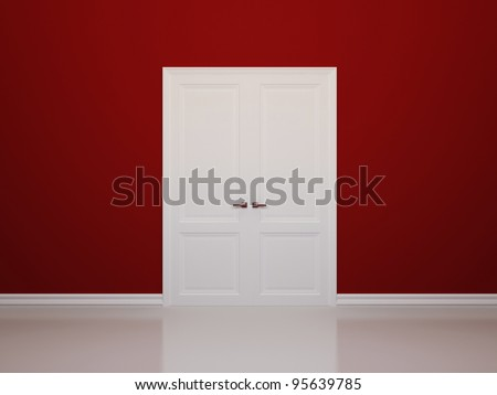Red walls and white door. Front view - stock photo
