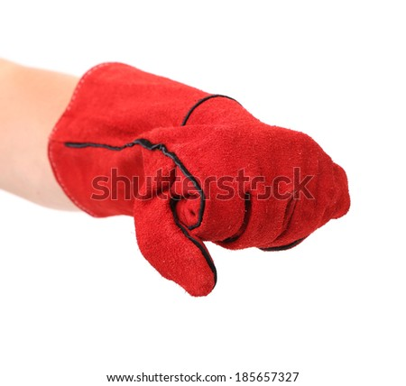 Red warm gloves. Isolated on a white background. - stock photo