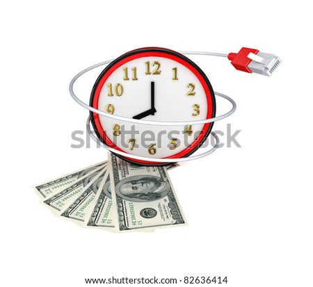 Red watch, money and patchcord. 3d rendered.Isolated on white background. - stock photo