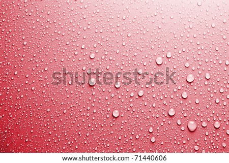 red water drops background texture - stock photo