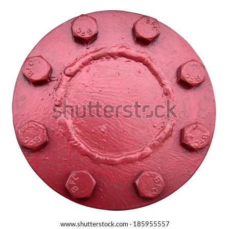 red water pipes cover is strong - stock photo
