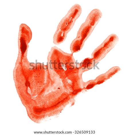 Red watercolor hand print isolated on white background, raster illustration - stock photo