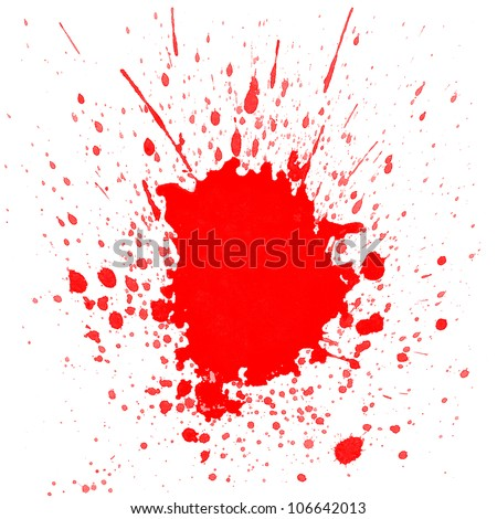 Red watercolor splashes on white background - stock photo