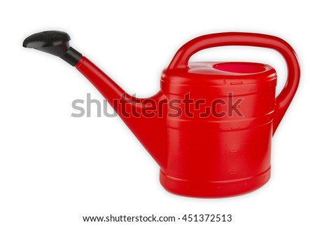 Red watering can isolated on white background - stock photo