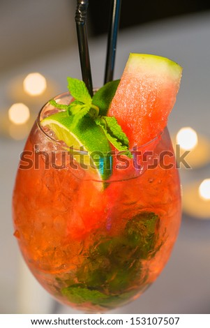 Red watermelon cocktail  - stock photo