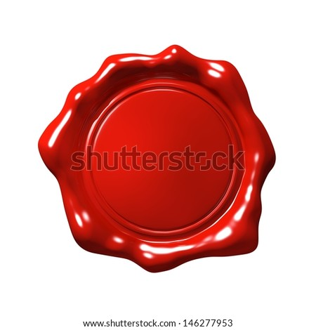 Red Wax Seal 4 - Isolated - stock photo
