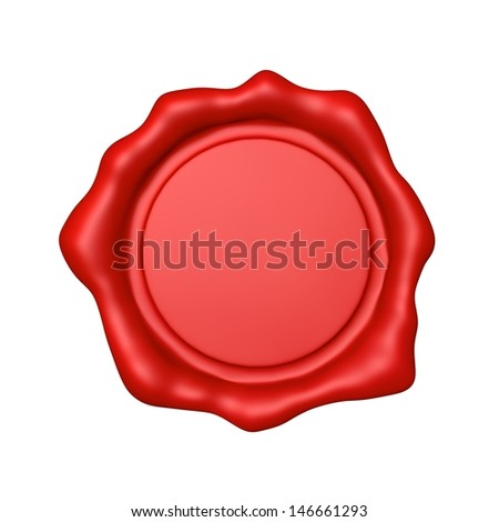 Red Wax Seal - Isolated  - stock photo