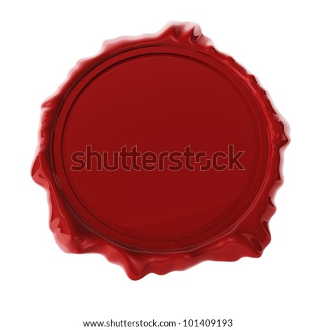 Red wax seal isolated on white 3D render. - stock photo