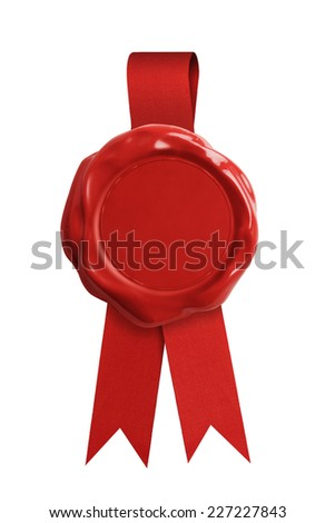 Red wax seal stamp with ribbon isolated on white - stock photo