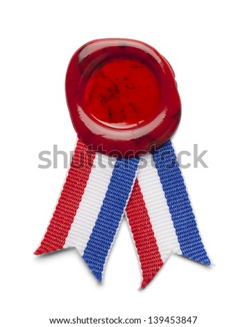 Red Wax Seal with American Ribbon Isolated on White Background. - stock photo