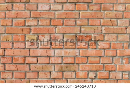 Red weathered rough brick wall pattern. Horizontal and vertical seamless background - stock photo