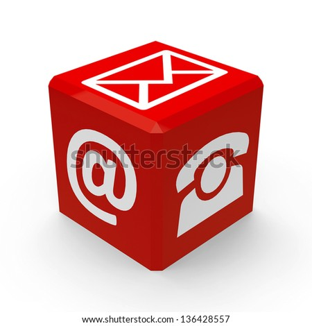 Red web contact buttons is communication, three-dimensional rendering - stock photo