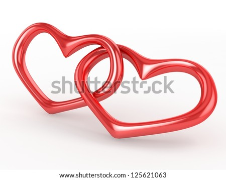 Red wedding hearts - stock photo