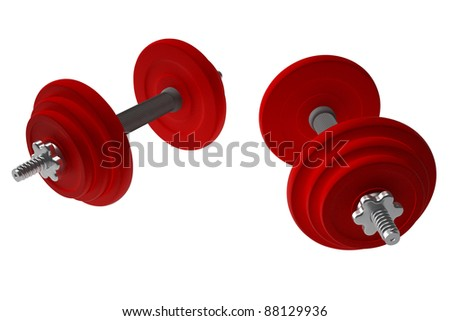 Red weightlifting weights dumbells 3d render isolated on white with clipping path - stock photo